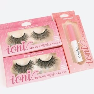 Faux mink dramatic lashes with glue